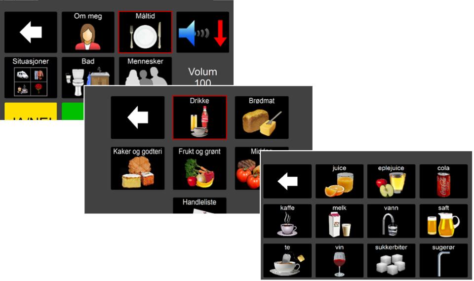 Eksempel på navigasjon med over- og underbegreper i en kommunikasjonsløsning