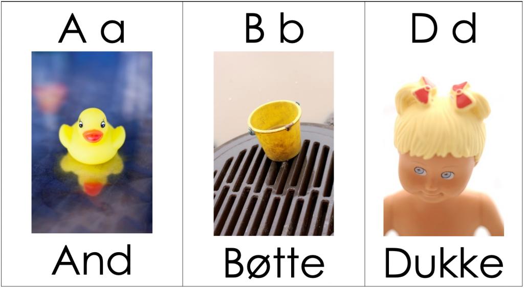Eksempel på utforming av alfabet med temaer som barnet interesserer seg for