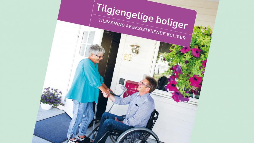 Deler av forsiden til heftet om tilgjengelige boliger av Norges Handikapforbund