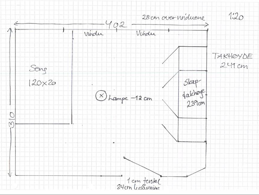 Eksempel soverom - målsatt tegning