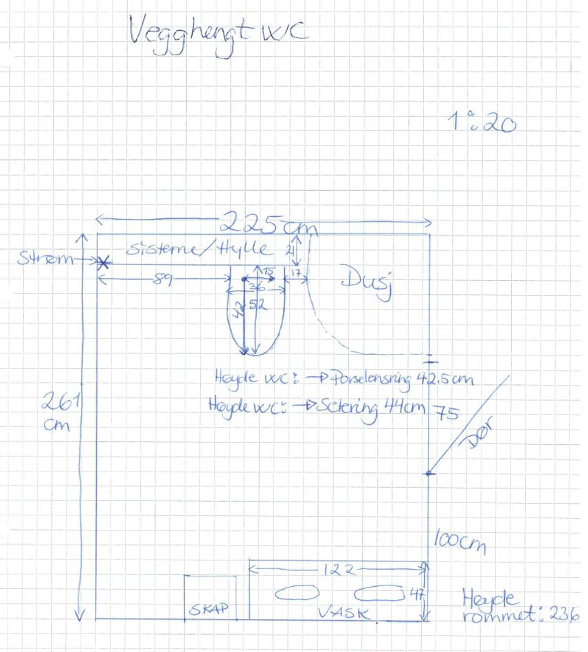Eksempel toalett vegg - målsatt tegning