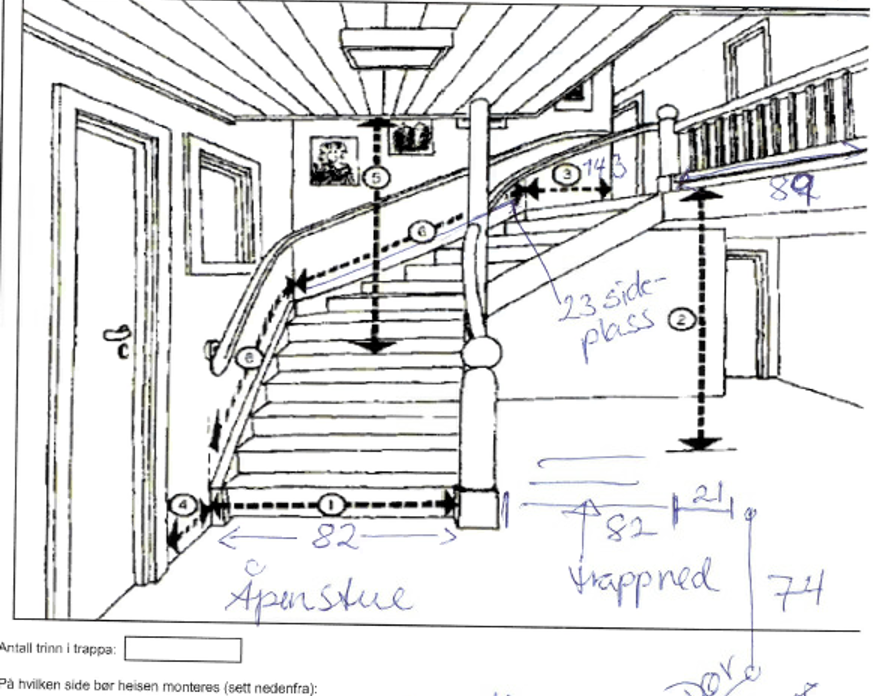 Eksempel trappeheis - målsatt tegning